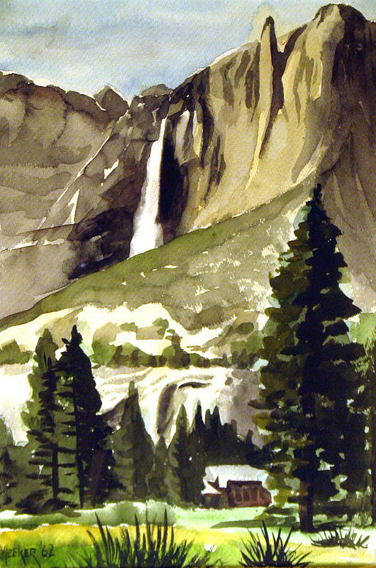 Watercolor Print featuring the painting Yosemite IIi by Bill Meeker