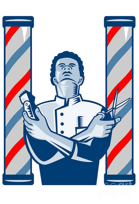 Barber Print featuring the digital art Barber With Pole Hair Clipper And Scissors Retro by Aloysius Patrimonio