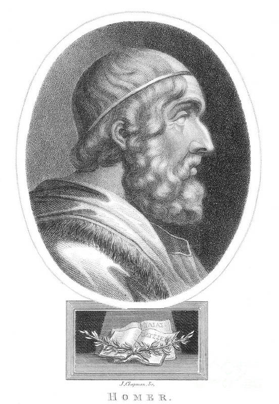Literature Print featuring the photograph Homer, Ancient Greek Epic Poet by Photo Researchers