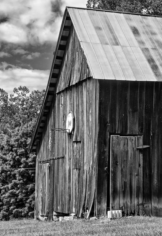 Landscape Print featuring the photograph An American Barn Bw by Steve Harrington