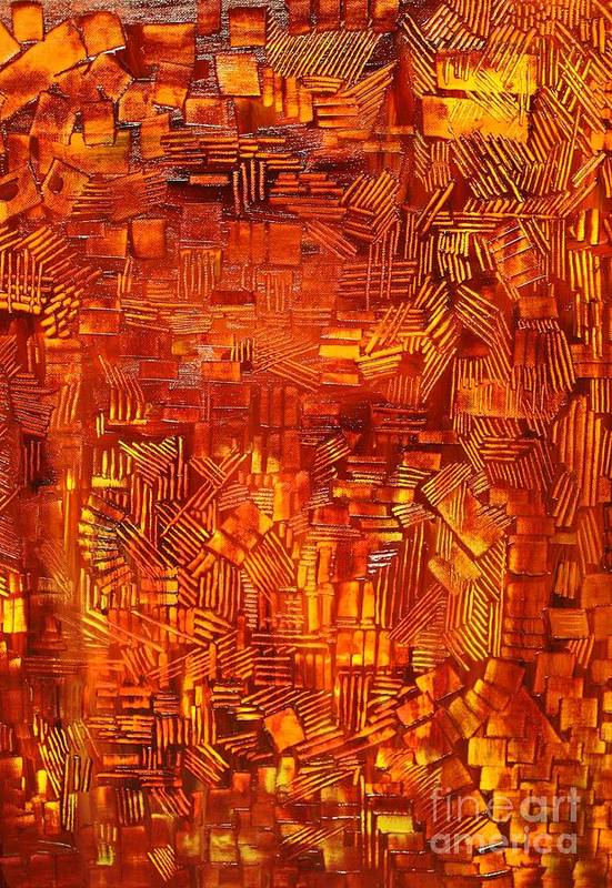 Autumn Print featuring the painting An Autumn Abstraction by Michael Kulick