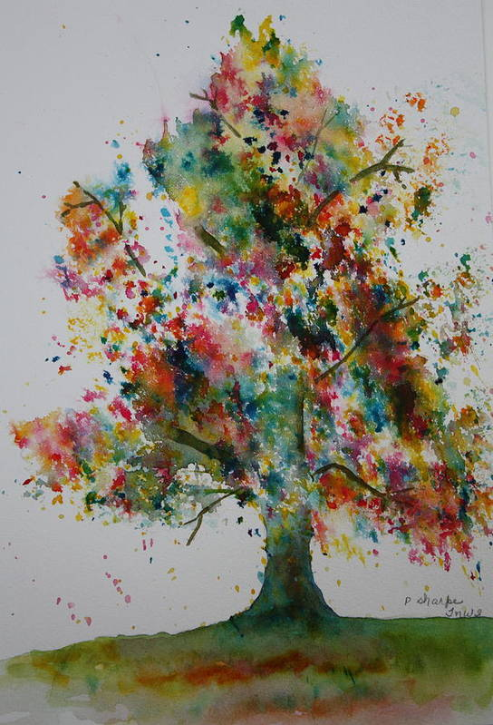 Landscape Print featuring the painting Confetti Tree by Patsy Sharpe
