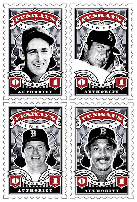 Ted Williams Print featuring the digital art Dcla Fenway's Finest Combo Stamp Art by David Cook Los Angeles