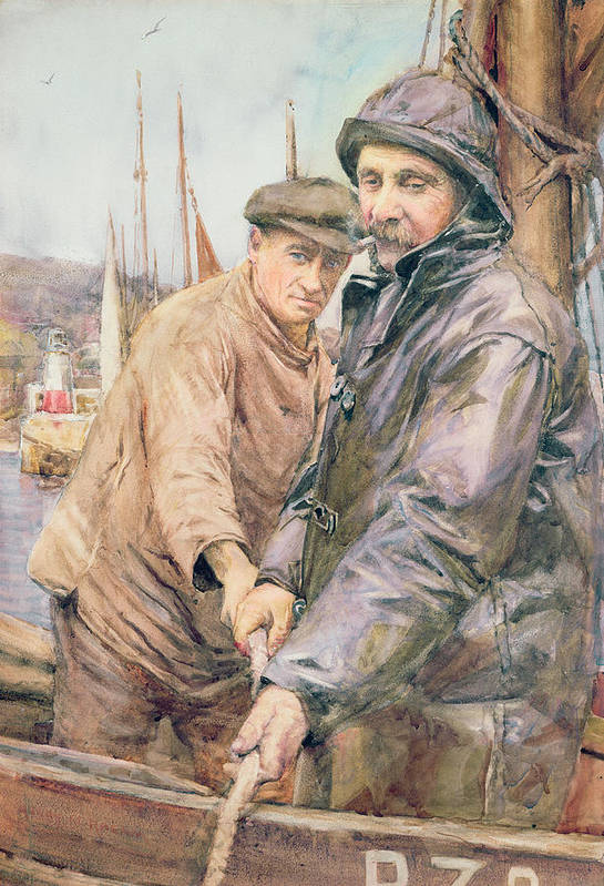 Cornish Print featuring the drawing Hauling In The Net by Henry Meynell Rheam