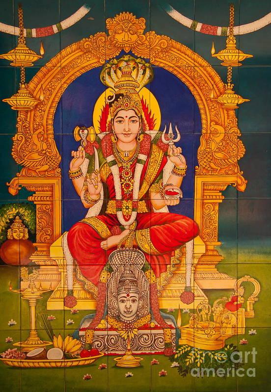 Hinduism Print featuring the photograph Hindu God by Niphon Chanthana