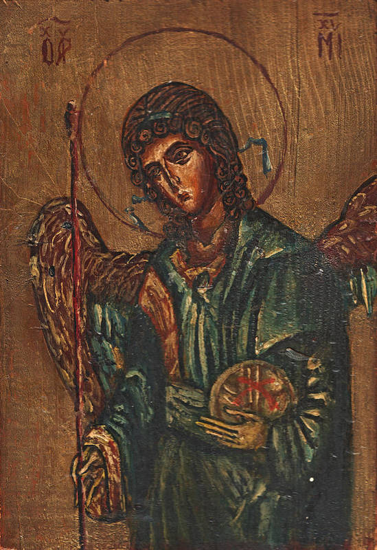 Michael Print featuring the painting Icon Of Archangel Michael - Painting On The Wood by Nenad Cerovic