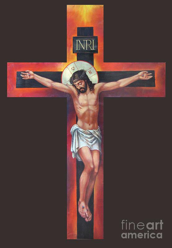 Zorina Baldescu Print featuring the digital art Jesus On The Cross by Zorina Baldescu