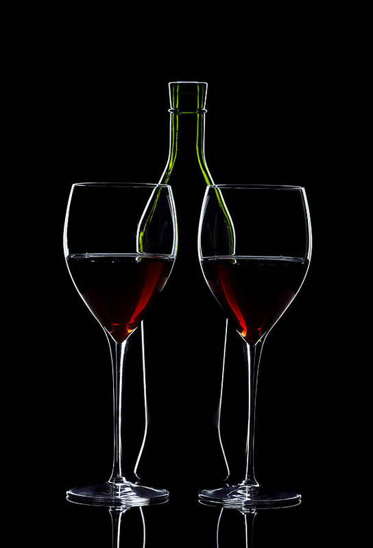 Wine Print featuring the photograph Red Wine Bottle And Wineglasses Silhouette by Alex Sukonkin