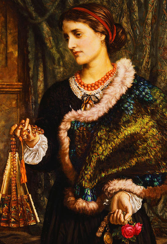 Accessory; Apparel; Artwork; Attire; British Art; Brunette; Caucasian; Clothing; Color; Dark Hair; Dress; Fine Art; Flowers; Front View; Fur; Hair Band; Half-length; Indoor; Jewlery; Marion Edith Waugh; Melancholy; Memory; Necklace; Nostalgic; Oil; Only; Painting; People; Person; Personal Accessory; Portraiture; Posture; Pre Raphaelite; Red; Reminiscence; Rose; Sadness; Victorian Pictures; Watch; William Holman Hunt; Wistful; Women; Young; Print featuring the painting The Birthday by William Holman Hunt