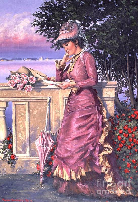 Romantic Victorian Print featuring the painting The Letter by Michael Swanson