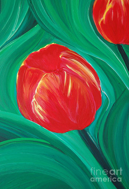 First Star Art Print featuring the painting Tulip Diva By Jrr by First Star Art