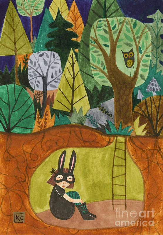 Bunny Mask Print featuring the painting Underground by Kate Cosgrove