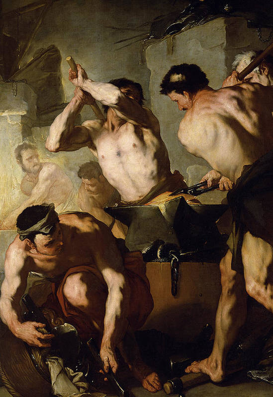 Neapolitan School Print featuring the painting Vulcans Forge by Luca Giordano