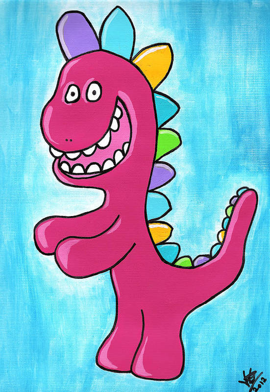 Happy Print featuring the painting Happosaur by Jera Sky