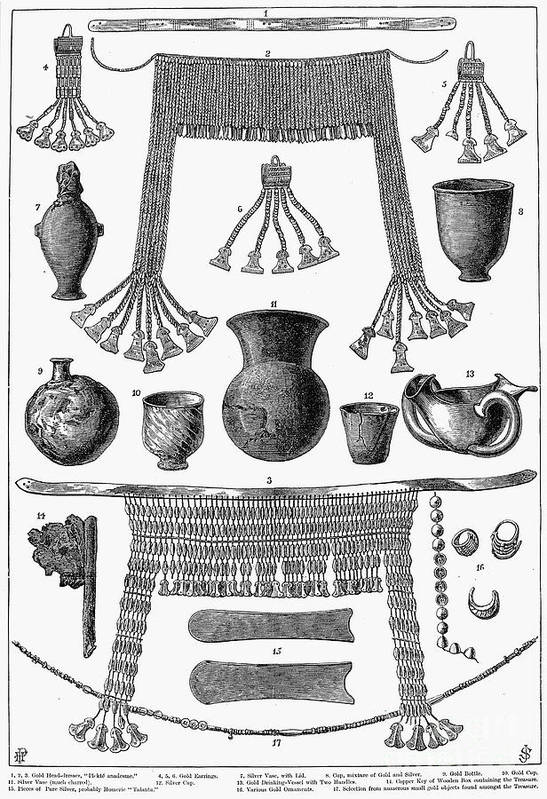 1877 Print featuring the photograph Heinrich Schliemann (1822-1890). German Traveller And Archeologist. Some Of The Antiquities Excavated By Schliemann At Hissarlick, Turkey, Site Of Ancient Troy. Wood Engraving, English, 1877 by Granger