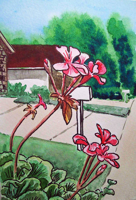 Geranium Print featuring the painting Pink Geranium Sketchbook Project Down My Street by Irina Sztukowski
