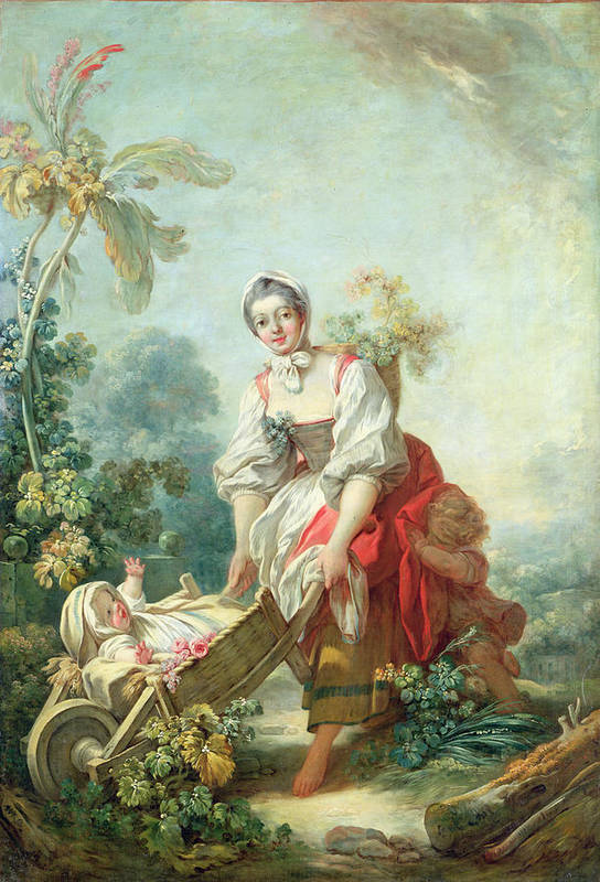 Maternal Print featuring the painting The Joys Of Motherhood by Jean-Honore Fragonard