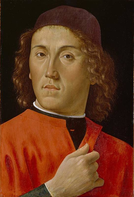 Young Print featuring the painting Young Man by Domenico Ghirlandaio