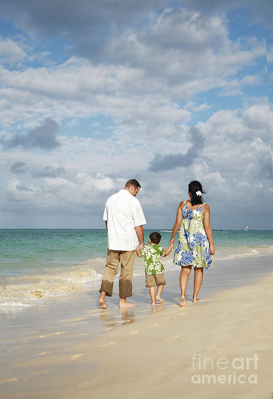 Affection Print featuring the photograph Beach Family by Brandon Tabiolo - Printscapes