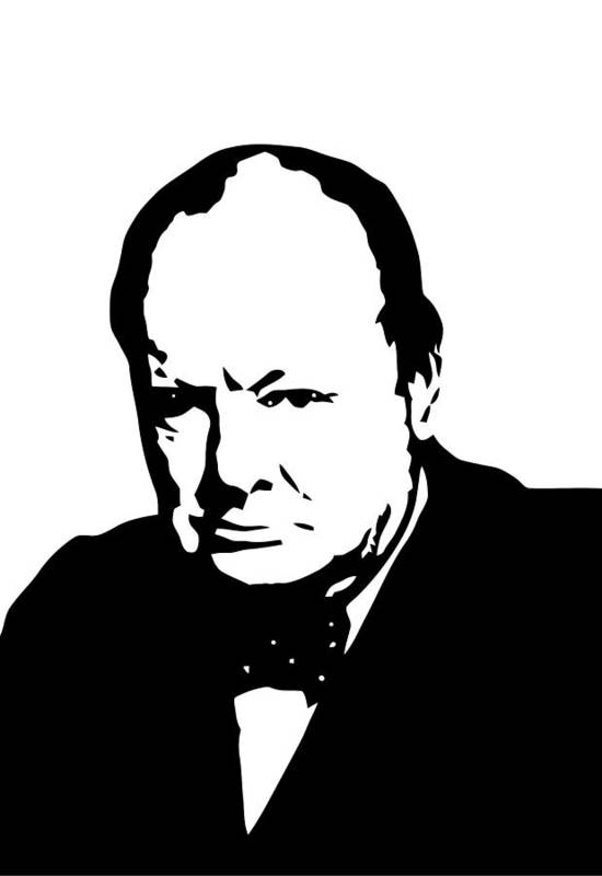 Winston Churchill Print featuring the digital art Churchill by War Is Hell Store