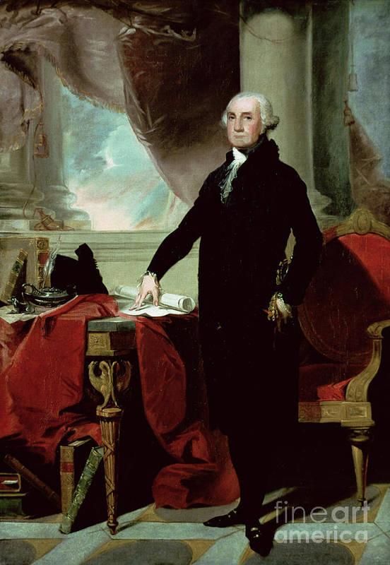 George Washington (1732-99) (colour Litho) By Gilbert Stuart (1755-1828) Print featuring the painting George Washington by Gilbert Stuart