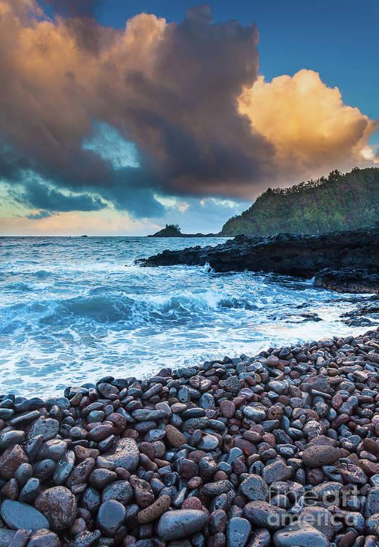 America Print featuring the photograph Hana Bay Pebble Beach by Inge Johnsson