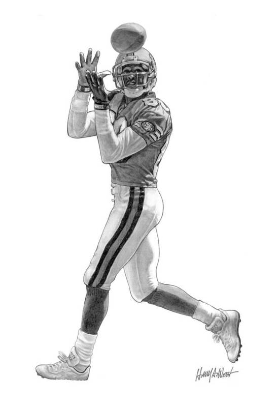 Jerry Rice Print featuring the drawing Jerry Rice by Harry West