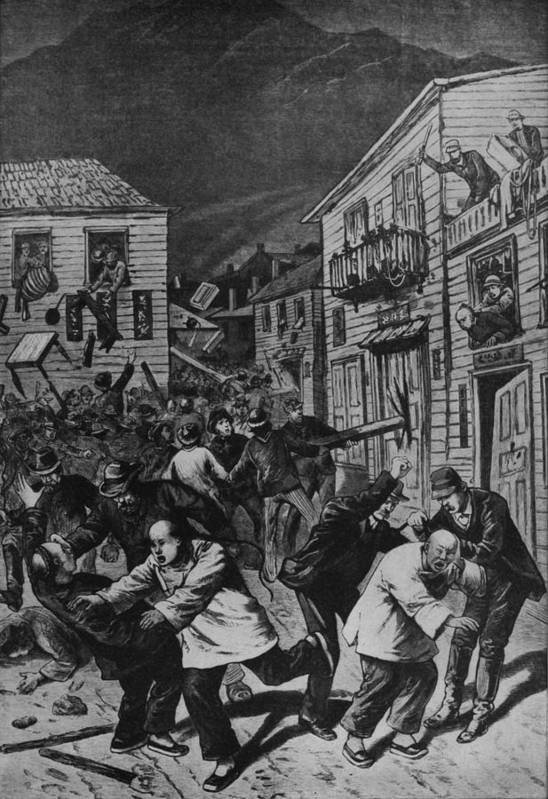 History Print featuring the photograph October 31, 1880 Anti-chinese Riot by Everett