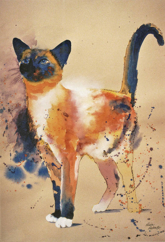 Jackson Pollock Art Print featuring the painting Pollock's Cat by Eve Riser Roberts