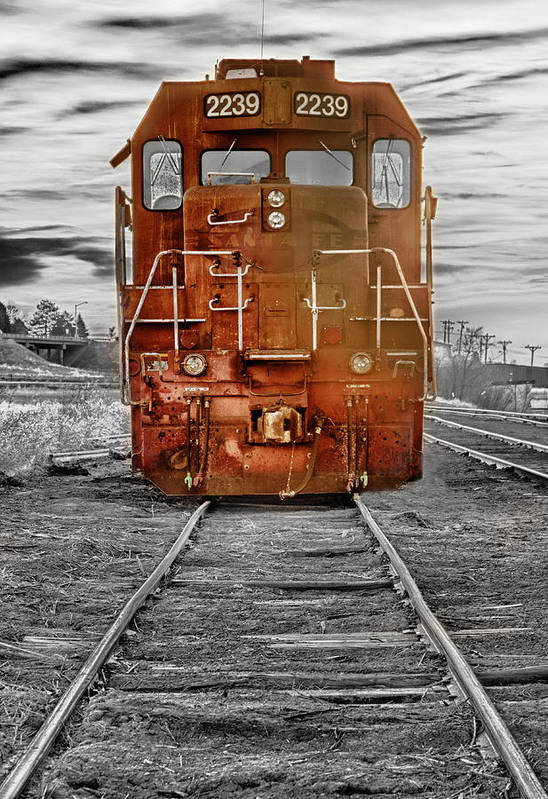 Railroad Print featuring the photograph Red Locomotive by James BO Insogna