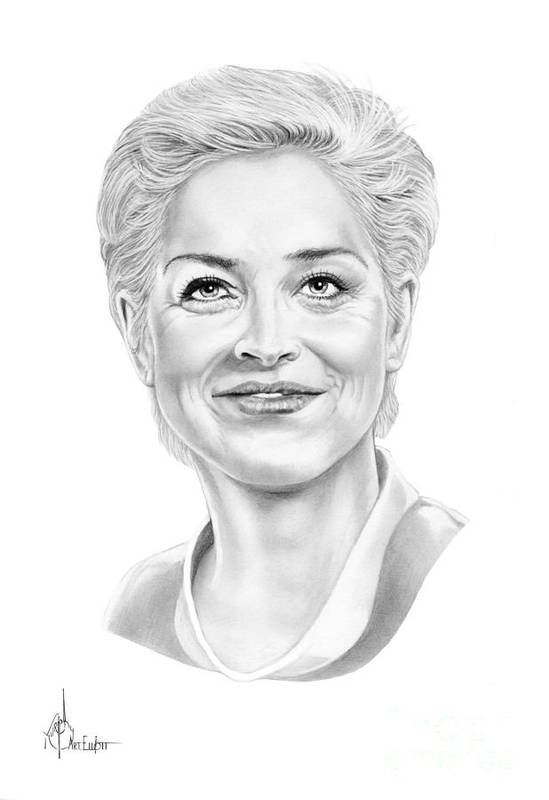 Drawing Print featuring the drawing Sharon Stone by Murphy Elliott