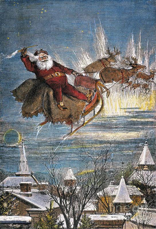 19th Century Print featuring the photograph Thomas Nast: Santa Claus by Granger