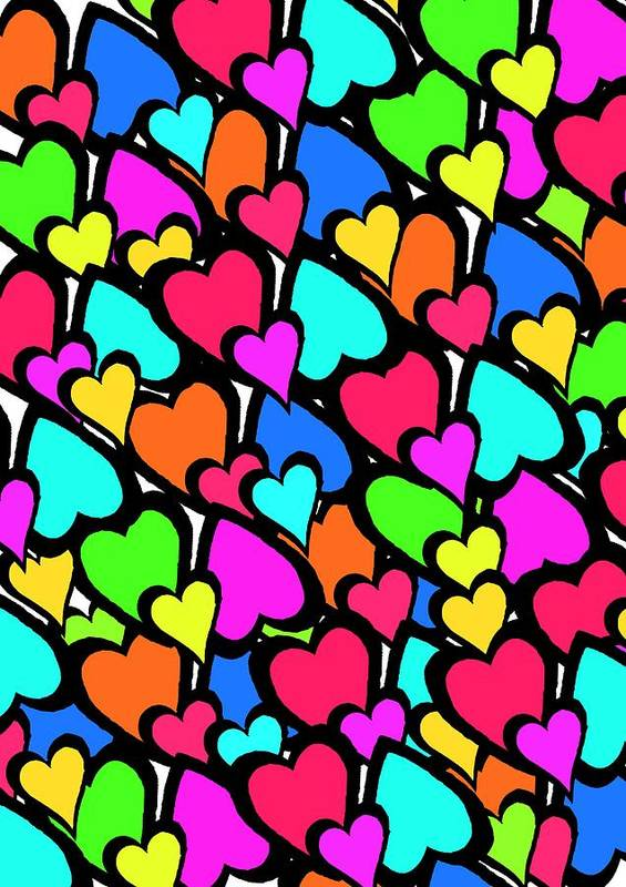 Hearts Print featuring the digital art Hearts by Louisa Knight