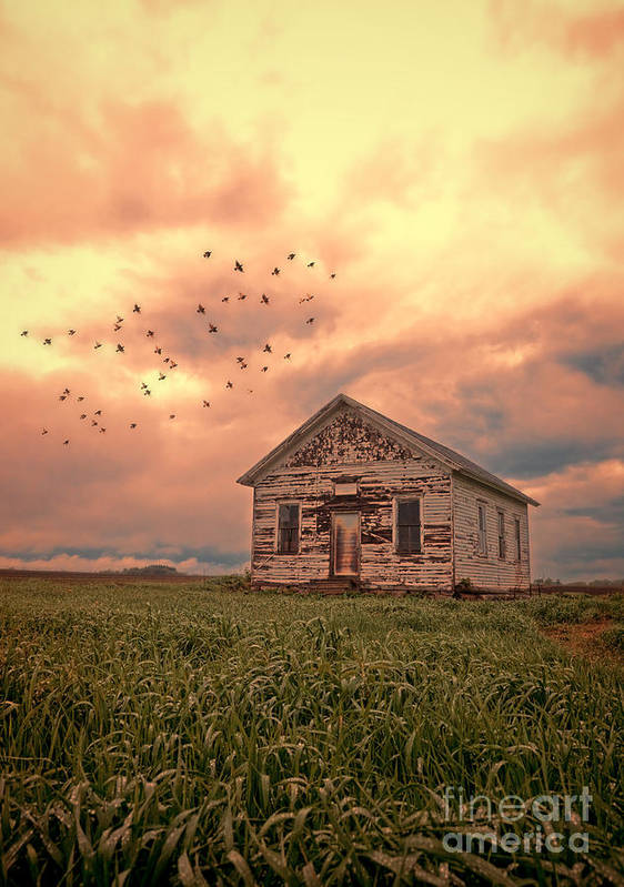 Farm Print featuring the photograph Abandoned Building In A Storm by Jill Battaglia