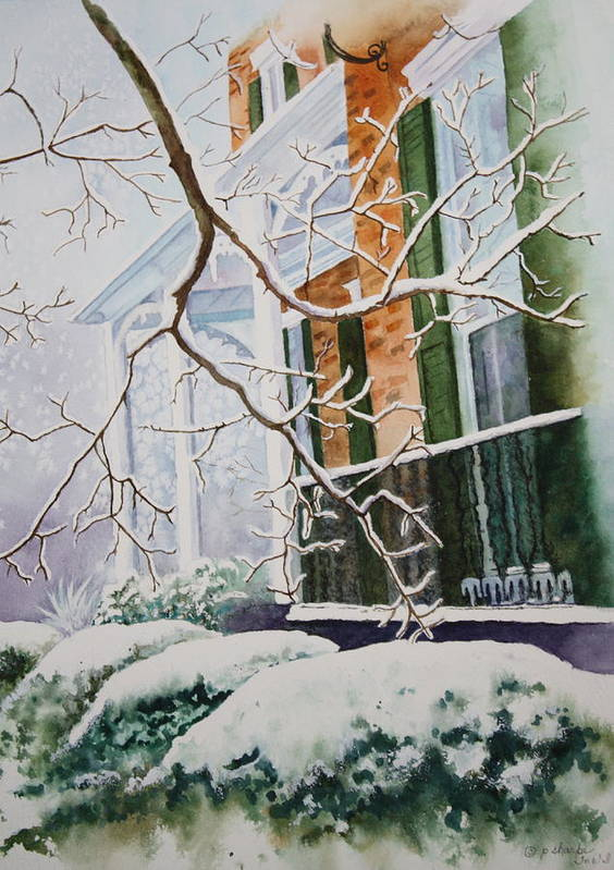 Snow Scene Landscape Print featuring the painting A Blanket Of Snow by Patsy Sharpe