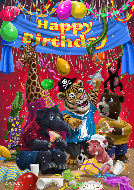 Birthday Print featuring the painting Animal Birthday Party by Martin Davey