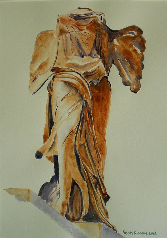 France Print featuring the painting Another Perspective Of The Winged Lady Of Samothrace by Geeta Biswas