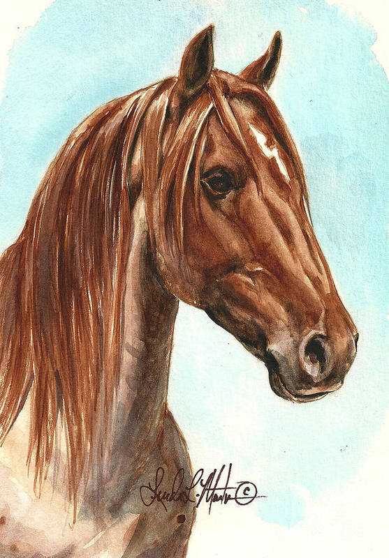 Wild Horse Print featuring the painting Aries by Linda L Martin