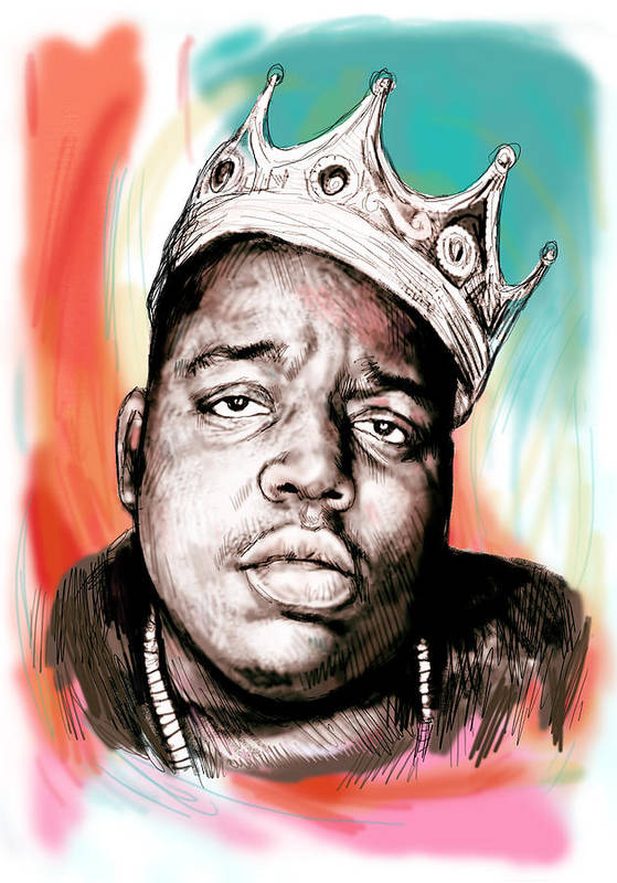 Biggie Smalls Colour Drawing Art Poster - Pop Art Print featuring the painting Biggie Smalls Colour Drawing Art Poster by Kim Wang