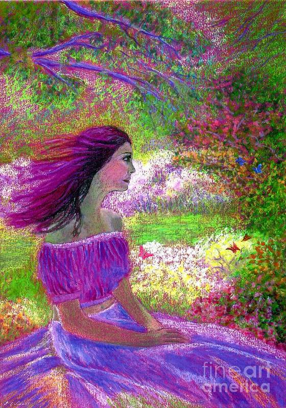 Purple Print featuring the painting Butterfly Breezes by Jane Small