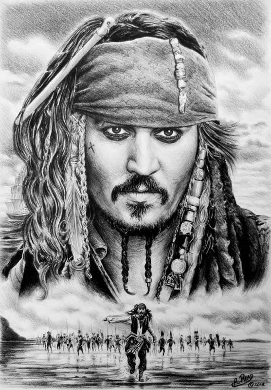 Andrew Read Print featuring the drawing Captain Jack Sparrow 2 by Andrew Read