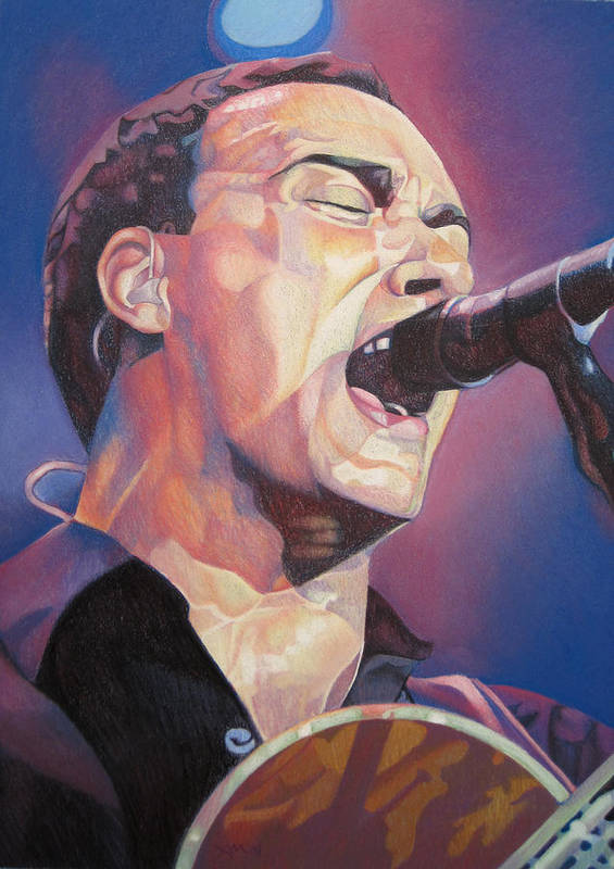 Dave Matthews Print featuring the drawing Dave Matthews Colorful Full Band Series by Joshua Morton