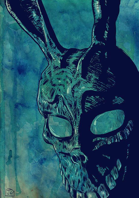 Donnie Darko Print featuring the drawing Donnie Darko by Giuseppe Cristiano