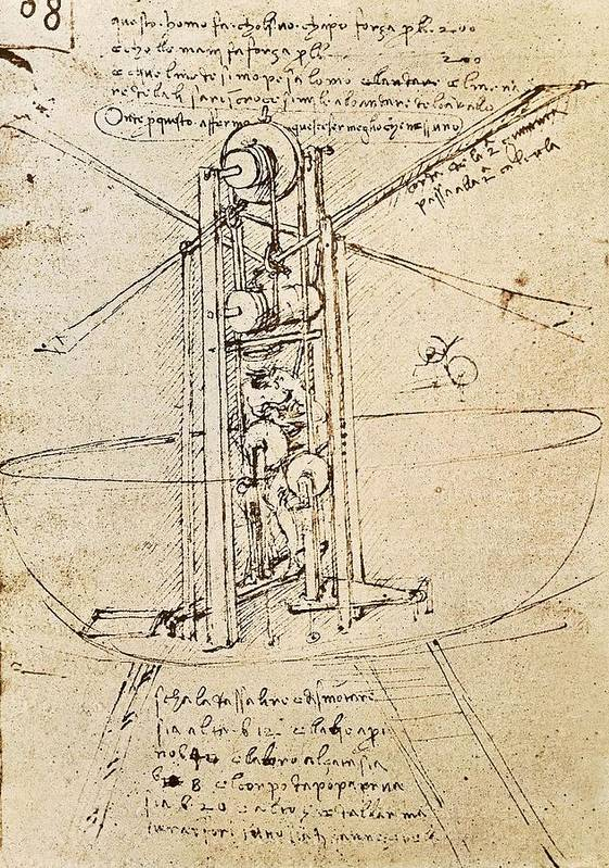 Vertical Print featuring the photograph Drawing By Leonardo Da Vinci.. Flying by Everett