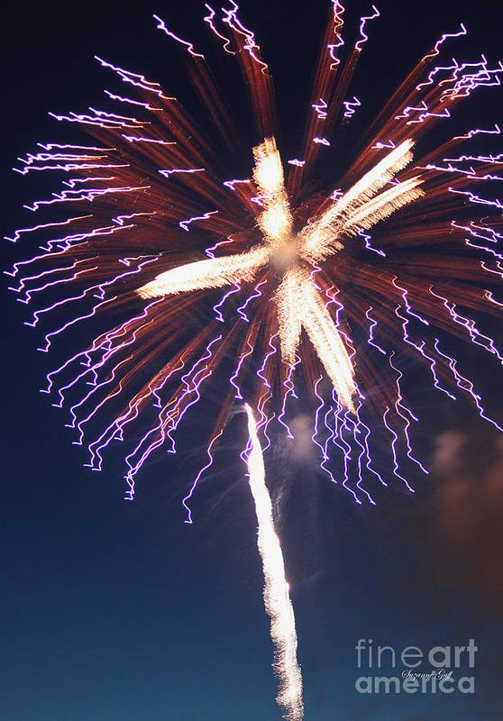 July Print featuring the photograph Fireworks Series Xii by Suzanne Gaff