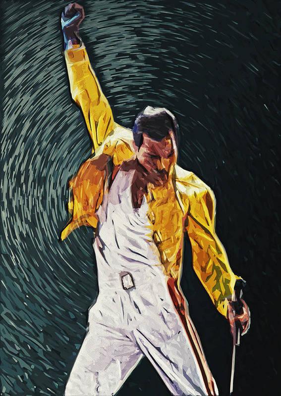 Queen Print featuring the digital art Freddie Mercury by Taylan Soyturk