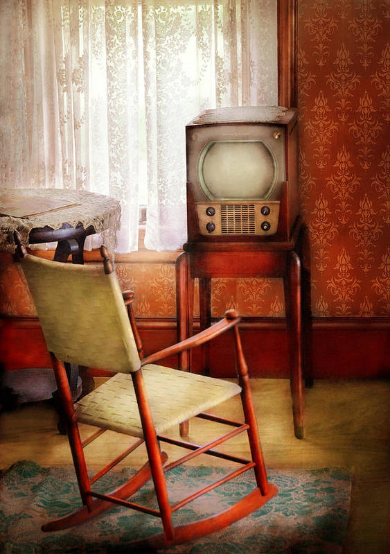 Suburbanscenes Print featuring the photograph Furniture - Chair - The Invention Of Television by Mike Savad