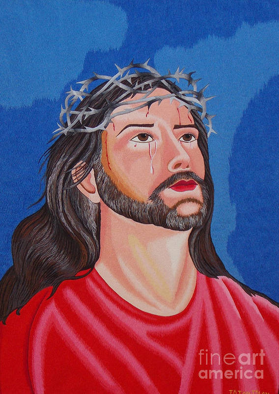 Jesus Print featuring the tapestry - textile Jesus Hand Embroidery by To-Tam Gerwe