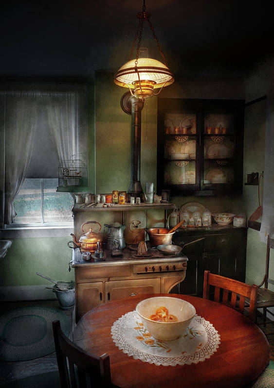 Kitchen Print featuring the photograph Kitchen - 1908 Kitchen by Mike Savad