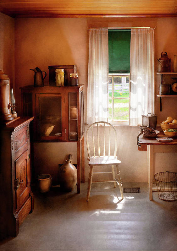 Hdr Print featuring the photograph Kitchen - A Cottage Kitchen by Mike Savad